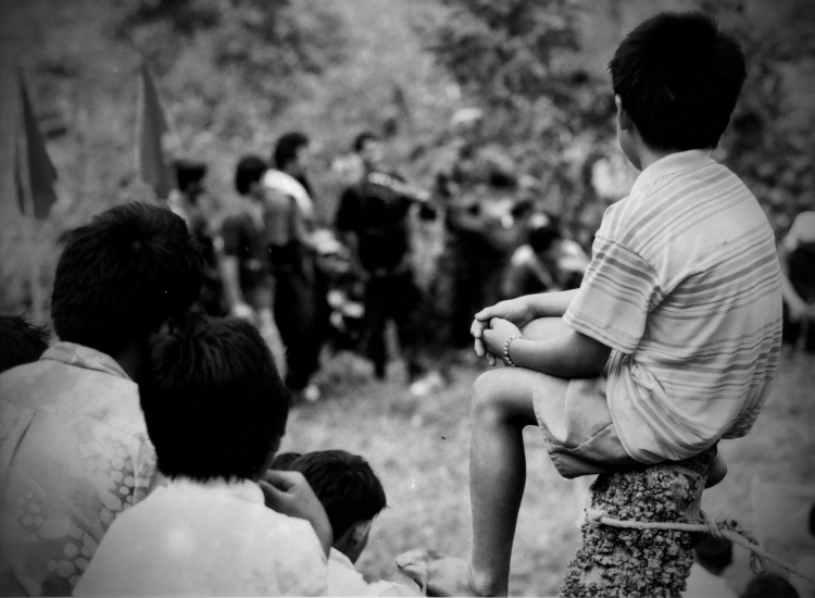 GUERRILLAS of the  New People's Army singing a song during a cultural presentation for the  anniversary of the CPP | This photo was taken more than 15 years ago |  Photo by Julius D. Mariveles